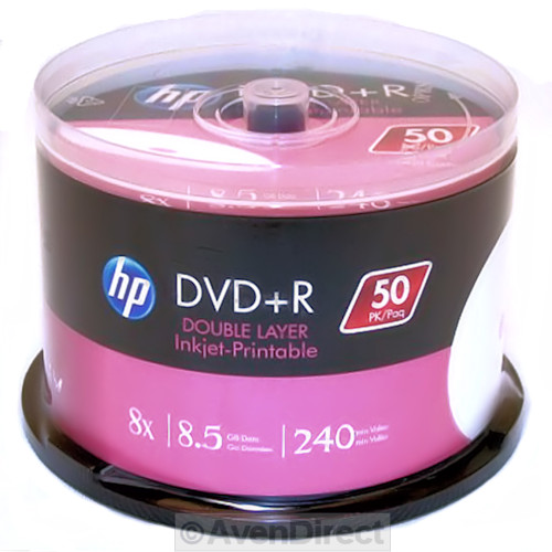 50 pack hp 8x white inkjet 8 5gb double dual layer dvd r. Black Bedroom Furniture Sets. Home Design Ideas