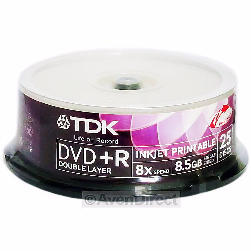 50 pk tdk 8x white inkjet 8 5gb double dual layer dvd r dl. Black Bedroom Furniture Sets. Home Design Ideas